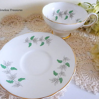 Vintage Crown Staffordshire English Fine Bone China Tea Cup and Saucer Green Grape Berry Gold Trim Replacement China Antique Tea Cup Gift