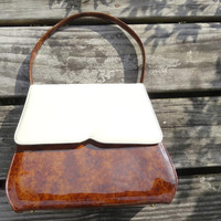 Vintage Handbag Vinyl Tortoise Shell & Cream Color Bag
