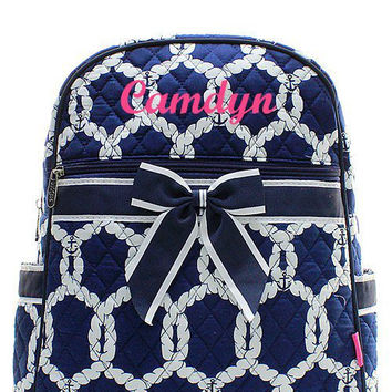 Navy Nautical Rope Preppy Monogrammed Backpack  Monogram Quilted Backpack  Personalized Backpack