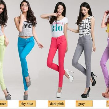 Women's Solid Candy Color Slim Skinny Jeans