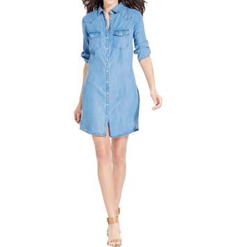 Kut From The Kloth Womens Tencel Collar Shirtdress