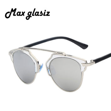 Maxglasiz 2017 New Summer Fashion Vintage Metal Female Cateyes Eyewear Gafas Luxury Brand Women Designer Retro Men Sunglasses