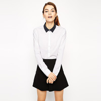 White Long Sleeve with Polka Dots Collar