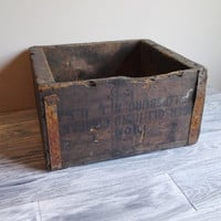 Vintage Industrial Wood Box Tool Storage Crate