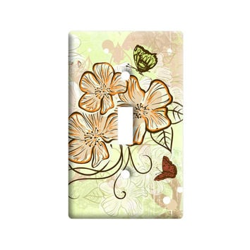 Fall Butterflies Vintage Floral Pattern Light Switch Plate Cover