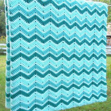"Vintage crochet blanket afghan with green teal white chevron pattern 98"" x 52"""
