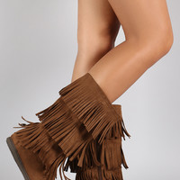 Soda Tiers of Fringe Mocassin Flat Boot