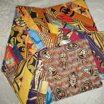 Ethnic Coasters Handmade with Authentic African Fabrics Set Of Six Mini Quilts One Of A Kind