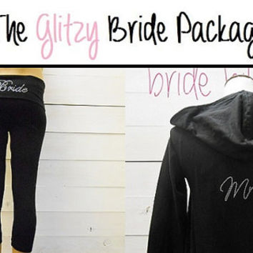 Bride Capris Pants and Bride Hoodie Package. Bride Yoga Capris. Bride Hoodie. Bride Sweatsuit. Bride Pants. Mrs. Honeymoon. Bride Gift.