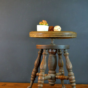 Antique Adjustable Piano Stool w/ Claw Feet, Wooden Piano Seat with Glass Ball Feet, Vanity Stool