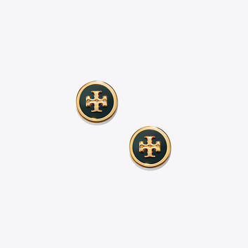 Tory Burch Lacquered Raised-logo Stud Earring