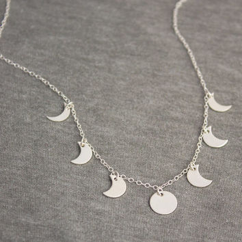Sterling Silver Moon Phases Necklace- Crescent Necklace