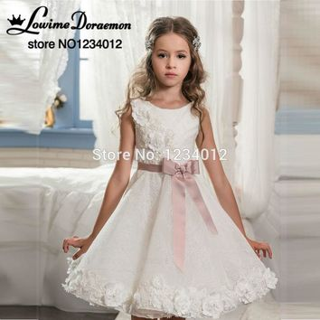 New Flower Girl Dresses White And Ivory Pink Sash Bow Lace Knee Length Short Pageant Gowns First Communion Dresses For Girl