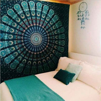 Flower Mandala Green Tapestry Colored Printed Decorative Mandala Tapestry Indian 130cmx150cm 153cmx203cm Boho Wall Carpet