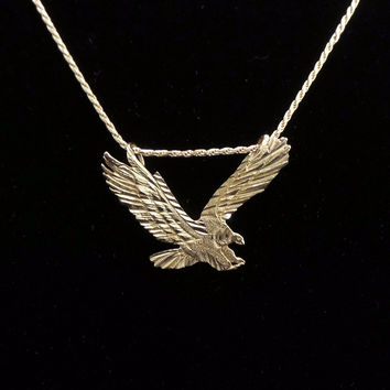 Solid 14K Yellow Gold Flying Eagle Diamond Cut Pendant