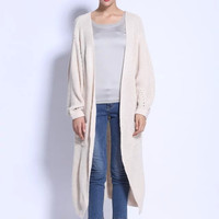 Beige None Button Long-Sleeve Knitted Long Cardigan With Slit