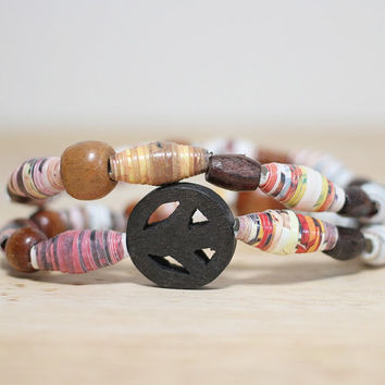 Wood Bead Recycled Paper Bead Bracelet Made From Book Pages