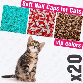 Soft Nail Cap for Cats with Adhesive Glue and Applicator 20pcs/set