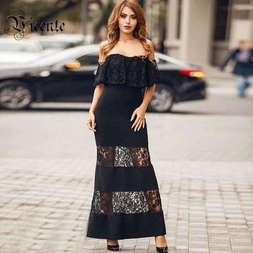 Graceful Lace Patchwork Off The Shoulder Strapless Women Celebrity Maxi Long Dress