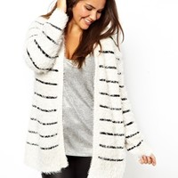 New Look Inspire Stripe Fluffy Cardigan at asos.com