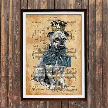 Animal print Dog poster Patent art Steampunk print SOL144