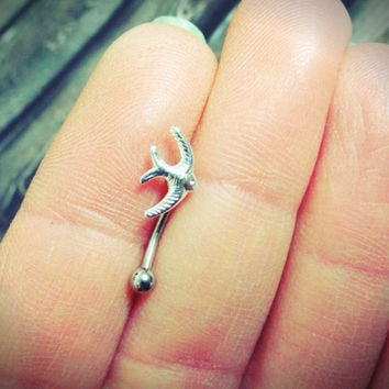 Sparrow Bird Eyebrow Ring Rook Ear Piercing or Belly Button Ring
