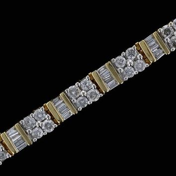 14k Yellow Gold Estate 5cttw Baguette and Round Bar Set Diamond Tennis Bracelet
