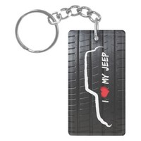 I Love My Jeep with tire tread Acrylic Key Chains