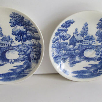 Lakeview 2 Blue and White Plates Napco Hand painted Plates Japan Cobalt Blue and white Collector Plates Napco Lakeview