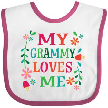 My Grammy loves me Baby Bib cute grandchild gift with floral design for little girls. $10.99 www.personalizedfamilytshirts.com