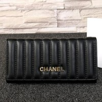 THE CHANEL Buckle Women Leather Purse Wallet H-MYJSY-BB black