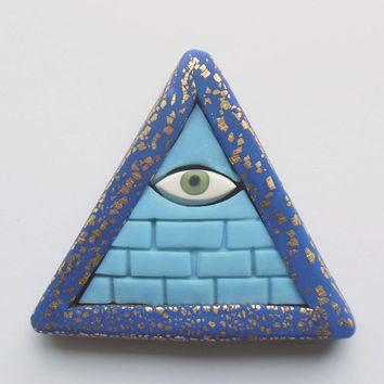 Glow in the Dark Illuminati Pyramid Pendant in Gold Leaf Lapis Blue EyeGloArts Handmade Blacklight jewelry