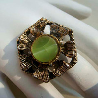 Vintage gold Jade adjustable ring
