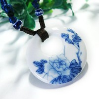 Us-Lady Women's Original Handmade Adjustable Length Porcelain Stone Necklace
