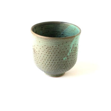 Green Stoneware Vase - Needle Pierced Home Decor - Geometry Inspired Decor - Rustic Chic - Copper Green Ceramic Vessel - Green Pottery Vase