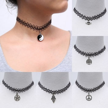 Handmade Fashion Vintage Stretch Tattoo Choker Necklace Gothic Punk Grunge Henna Elastic with Pendant Necklaces Jewelry = 5987859393