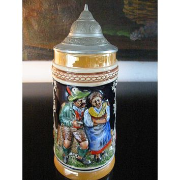 Germany Luster Figurative Majolica Pottery Beer Stein Pewter Lid Marked DBGM