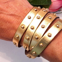 Unisex Studded Gold Leather Wrap Bracelet with Magnetic Clasp