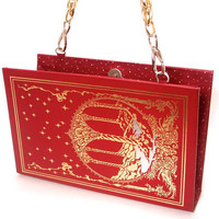 Edgar Allan Poe Book Clutch Purse in Red Leatherette with Gold Chain