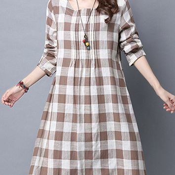 Streetstyle  Casual Plaid Cotton/Linen Shift Dress