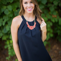 Pleated Neckline Gameday Dress in Black