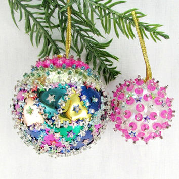 Vintage Christmas Ornament Set, Hot Pink Blue Ornaments, Crystal Bead Sequin Ornament, Christmas Tree Ball Ornament, 1960s Home Decor