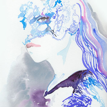 Print of Watercolor Fashion Illustration. Titled: Maison Michel