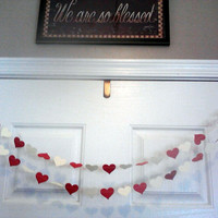 Dark Coral and Ivory Paper Heart Garland, Wedding Banner, Reception Decor, Bridal or Baby Showers, Birthday Party, All Occasion