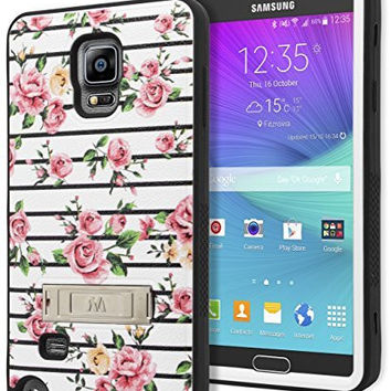 Samsung Galaxy Note 4 Hybrid  Black Cover  Pink RosesStripes Case