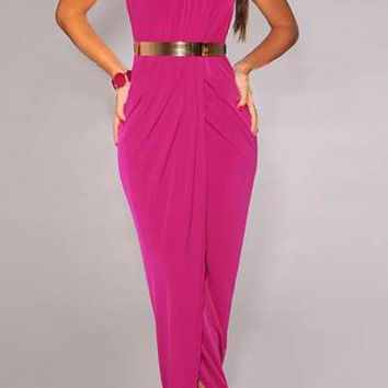 Plum Halter Ruched Maxi Dress with Belt