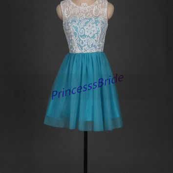 2014 short ivory lace blue tulle bridesmaid dresses,discount bridesmaid gowns,cheap cute dress for wedding party under 100,prom dress.