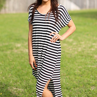 Go with the Flow Maxi - Black and Ivory Stripe