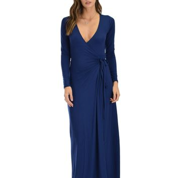 Lyss Loo Celestial Long Sleeve Navy Wrap Maxi Dress