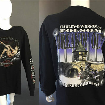 Black Folsom California HARLEY DAVIDSON Long Sleeve Shirt XL